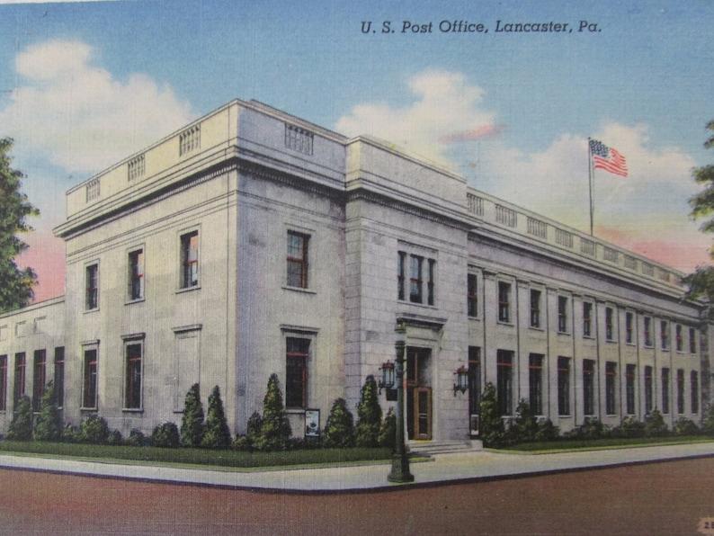 US Post Office Lancaster PA Vintage Postcard Linen