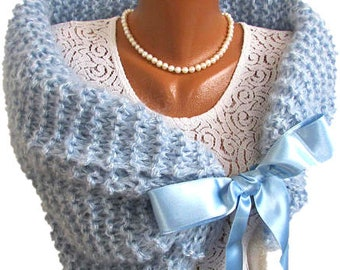 Rustic Wedding Shawl, Blue Bridal Bolero, Romantic Wedding Wrap, Winter Wedding, Knit Bridesmaid Bolero, Knit Cover Up, Wedding Capelet,