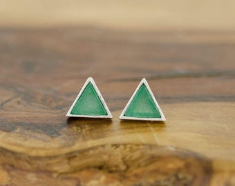 925 Sterling Silver Seagreen Turquoise Triangle Studs Earrings