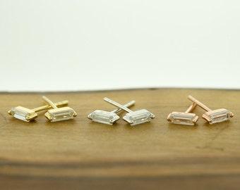925 Sterling Silver CZ Baguette Earrings Studs