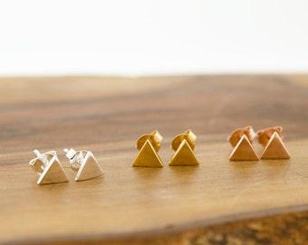 925 Sterling Silver Triangle Stud Earrings