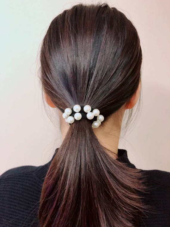 Multi Pearl Black Elastic Band Hair Tie Etsy