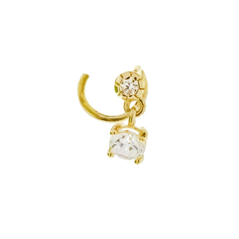 14KT Gold CZ Nose Stud with Dangling Stone