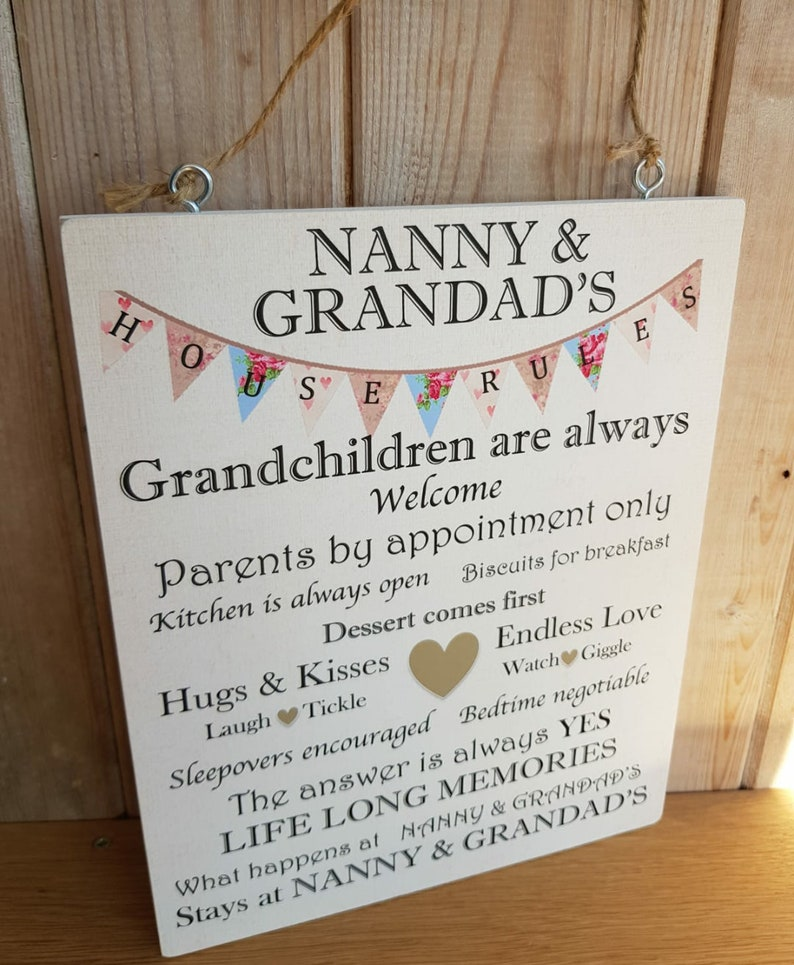 Nanny and Grandad House Rules Wooden Plaque home decor | Etsy