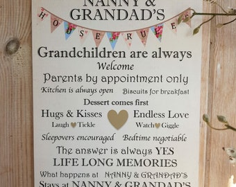 Nanny and Grandad House Rules Wooden Plaque home decor