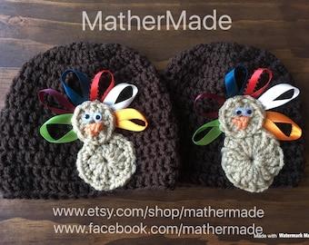 Crocheted Newborn Turkey Hat