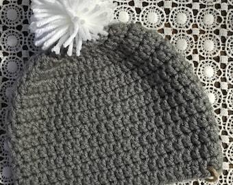 Crocheted Hat - with pompom, pom pom hat, handmade, crochet