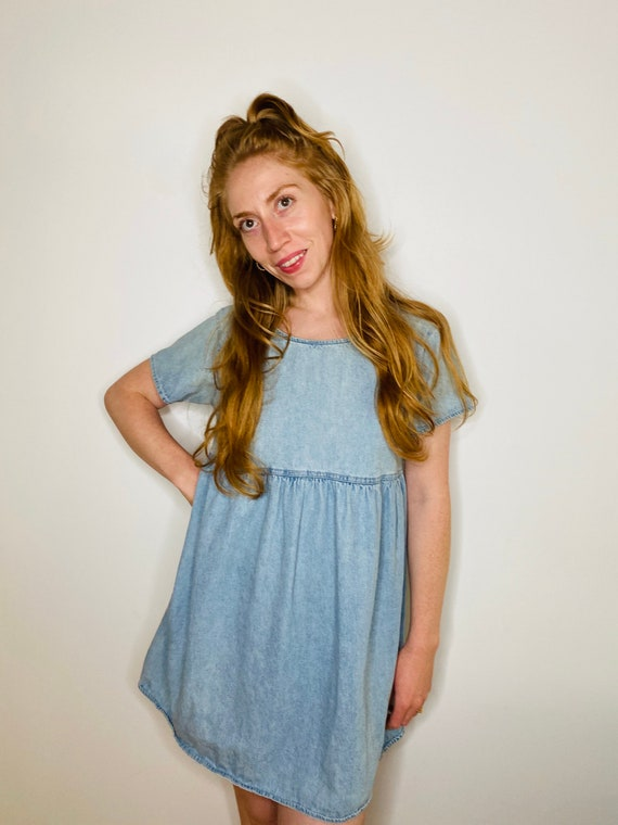 90s denim babydoll dress
