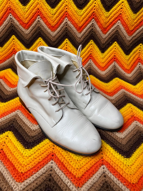 1980s White Ankle Boots