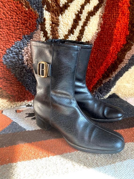 1960s Mod black vinyl boots
