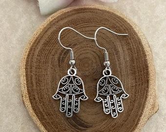 Talisman Gift Hamsa Hand Earrings Hamsa Earrings Hand of Fatima Earrings Protection Earrings Good Luck Earrings Silver Dangle Earrings