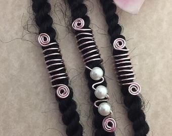 Loc Jewelry Gold Coils wIvory Pearls Set of 3 Dreadlock Cuffs Hair Jewelry Dreads Braids Dread Beads Locs Wedding Jewelry Sisterlocs