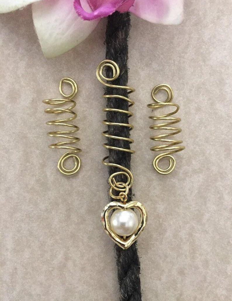 Loc Jewelry Gold Spirals wPearl in Heart Set of 3 Dreadlock Coils Cuffs Hair Jewelry Dreads Braids Dread Beads Locs Jewelry Sisterlocs