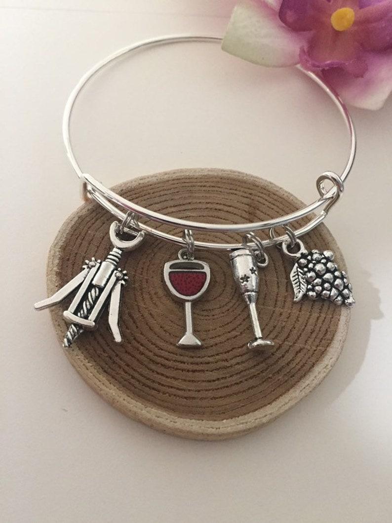 7b9fcd8455b68 Wine Themed Bracelet Silver Bangle Stackable/Adjustable Wine Lover Charm  Bracelet Red Wine Opener Wine Goblet Grapes Girls Weekend Gift