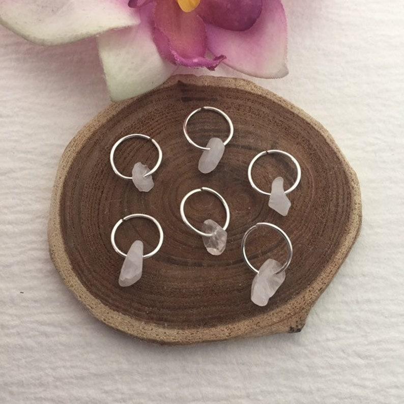 Silver Hair Rings wRose Quartz 6 Braid Rings Sisterlocks Dread Rings Loc Jewelry Beaded Hair Rings Bridal Wedding Dread Jewelry Locs