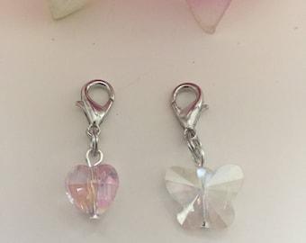 Crystal Heart or Butterfly Knitting/Crochet Progress Keeper Purse Charm Planner Charm Zipper Pull Stitch Marker Cell Phone Lanyard