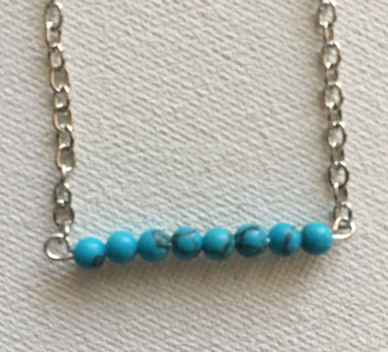 Beaded Bar Necklace Silver Feather Turquoise Bar Necklace Native American Necklace Layered Western Jewelry Southwestern Jewelry