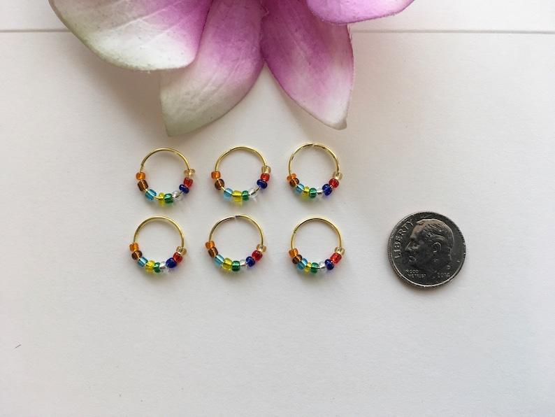 Gold Hair Rings w Colorful Glass Beads Braid Rings Dread Rings Loc Jewelry Beaded Hair Rings Hippie Boho Braid Dread Jewelry Locs Rings