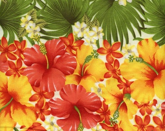 Bright Hawaiian Flowers Stripe Trans-Pacific BQ-12-866 Cream, By the Yard