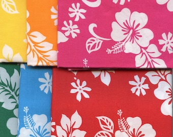 FQ Bundle Hawaiian Hibiscus Flowers Trans-Pacific, 6 Fat Quarters