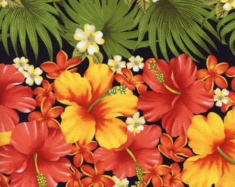 Bright Hawaiian Flowers Stripe Trans-Pacific BQ-12-866 Black, By the Yard