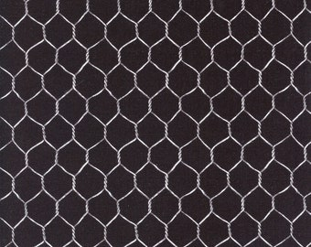 Chicken Wire Rise and Shine Cotton Fabric Dona 3909 Black, By the Yard
