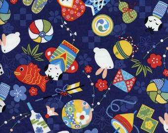 Tossed Bright Motifs Trans-Pacific Cotton Fabric MY-16-156 Blue, By the Yard