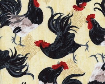 Tossed Roosters Rise and Shine Timeless Cotton Fabric Ruth C5995 Latte, By the Yard
