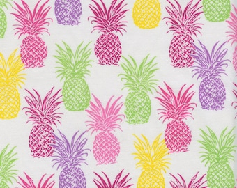 Small Tropical Pineapples Trans-Pacific Cotton Fabric LW-166-500 Girl Cream, By the Yard