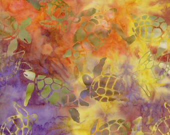 Tropical Sea Turtles Trans-Pacific Batik Cotton Fabric GA-92-Orange, By the Yard