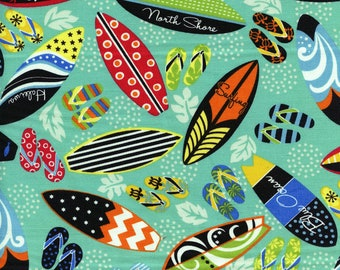 Surfboards and Flip Flops Hawaiian Trans-Pacific Cotton Fabric MY-16-171 Jade, By the Yard