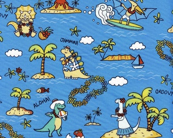 Dinosaurs in Hawaii Trans-Pacific Cotton Fabric MY-16-160 Light Blue, By the Yard