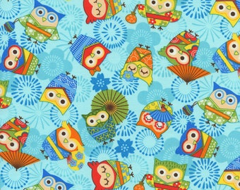 Asian Owls Trans-Pacific Cotton Fabric MY-16-169 Blue, By the Yard