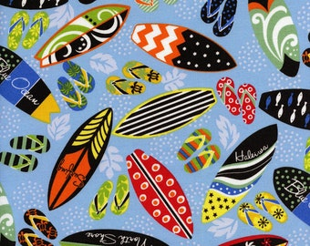 Surfboards and Flip Flops Hawaiian Trans-Pacific Cotton Fabric MY-16-171 Blue, By the Yard
