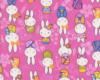 Asian Bunnies Trans-Pacific Cotton Fabric BN-16-186 Pink, By the Yard