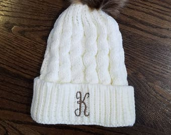 Monogrammed Cable Knit Hat