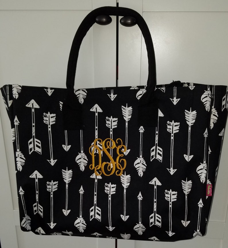 Large Monogrammed Tote/ BEACH BAG/ Gift Idea image 0