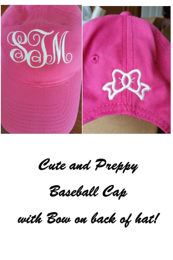 b3ed331cee5 Monogrammed Ball Cap With Embroidered Bow on Back