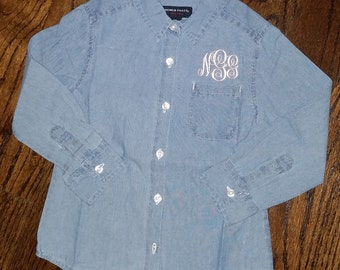 Little Girls Denim Shirt ---for your Flower Girl to Match your Bridesmaids!- NOW ALL SIZES