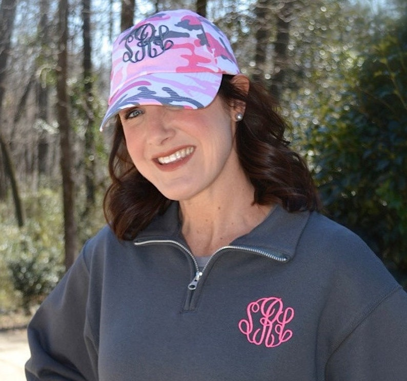 Monogrammed Baseball Cap Now in Pink CAMO image 0
