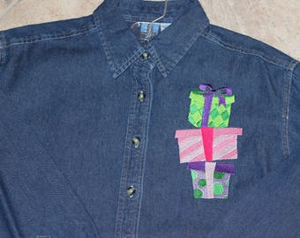 Denim Shirt with Christmas Packages--ONE Of A KIND-