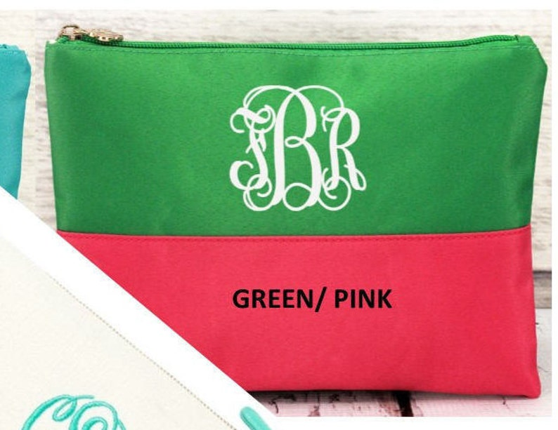Monogrammed Pouch / BIKINI BAG/ Cosmetic Bag     Almost GONE image 0