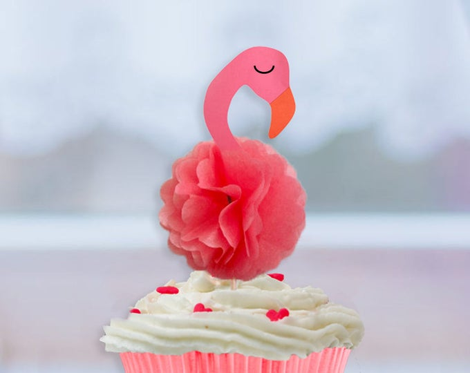 Flamingo Cupcake Toppers, Flamingo Party, Let's Flamingle Party, Flamingo Cake Topper, Lets Flamingle Party