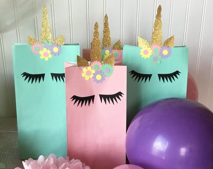 Unicorn Treat Bag, Treat Bag Decor, Unicorn Horn Goodie Bag, Unicorn Party, Unicorn Horn, Unicorn Birthday, Unicorn Goodie Bag