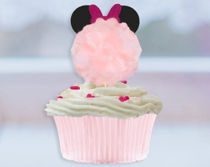 Minnie Mouse Pom Cupcake Toppers, Minnie Mouse Cupcake Decor, Minnie Mouse Cupcake Bow