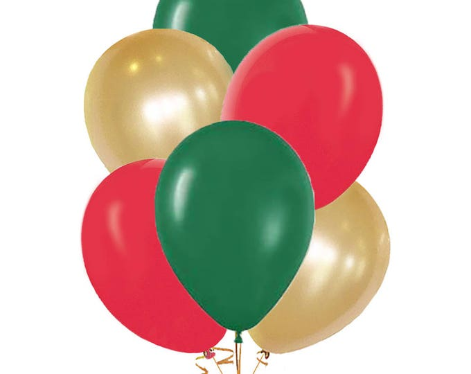 Christmas Balloon bouquet, Italian Balloons, 10 Pack Green, Red, White, and Gold Balloons, Evergreen Ruby Red and Pearl White  Gold Balloons