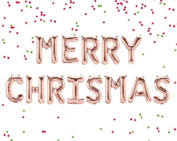 """Merry Christmas Banner, Rose Gold Letter Balloons, Rose Gold Merry Christmas Balloons, Giant Merry Christmas, Letter Balloons 40"""" and 14"""""""