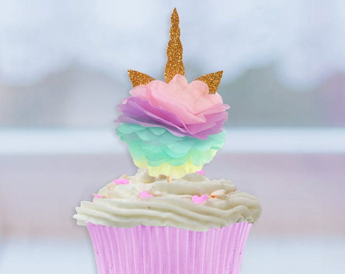 Unicorn Cupcake Toppers, Unicorn Party, Unicorn Birthday, Unicorn Horn Cupcake topper