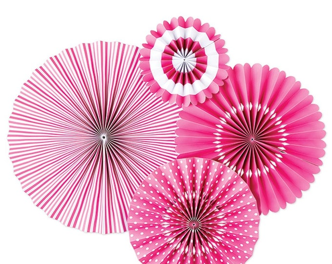 Pink Party Fans in Hot Pink, Pink Pom Wheel, Hot Pink Rosettes, Hot Pink Paper Medallions, Bubble Gum Pink Paper Fans