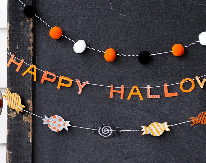 Halloween Decor, Happy Halloween Banners 3 Pack, Halloween Decorations Vintage, Candy Banner, Halloween Party Decorations, Halloween Candy